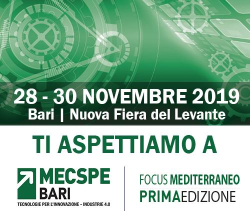 MECSPE, Bari – 28/30 novembre 2019 – Nuovo Padiglione – Stand I19